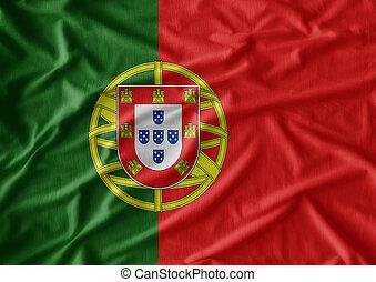 vrai, tissu, portugal., texture, drapeau ondulant, a