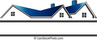vrai, toits, logo, propriété, maisons