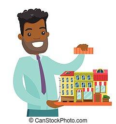 vrai, ville, agent immobilier, présentation, africaine, model.