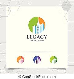 vrai, ville, appartement, concept, propriété, entrepreneur, résidence, vecteur, conception, icône, logo, propriété, construction, scape., bâtiment.