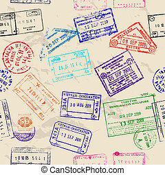 vrai, visa, seamless, texture, stamps.