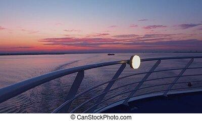 vu, croisière bateau, coucher soleil, pont