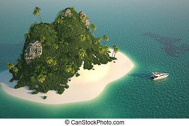 vue, aérien, île paradis