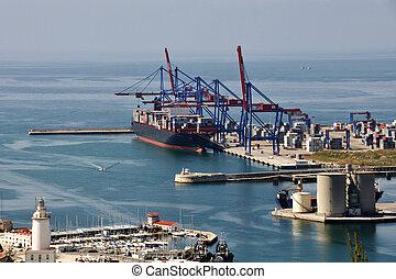 vue, aérien, malaga, port
