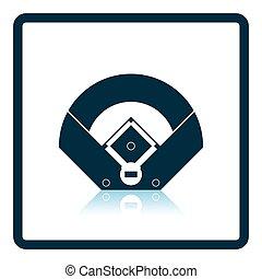 vue aérienne, champ base-ball, icône