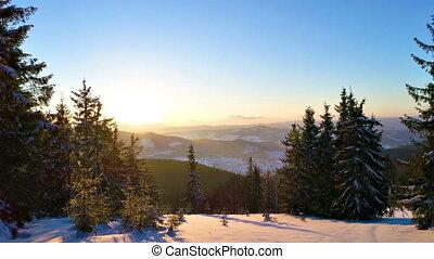vue aérienne, coucher soleil, hiver, montagne