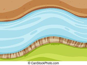 vue aérienne, grand plan, rivière