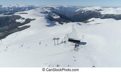 vue aérienne, recours, ski
