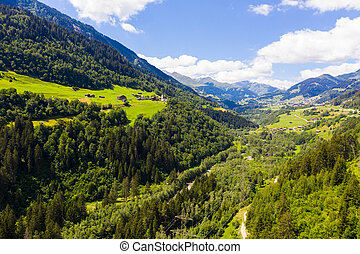 vue, alpes, vallée, aérien, village, cavardiras, suisse