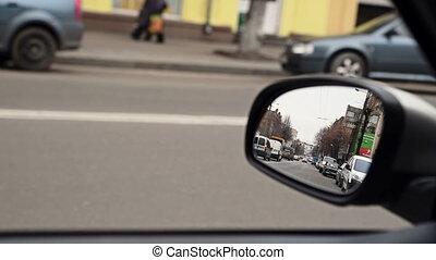 vue, arrière, conduite, miroir