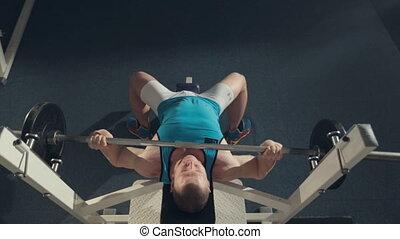 vue, athlète, barre disques, exercice, sommet, machine