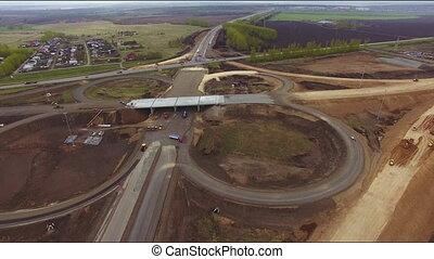 vue, autoroute, aérien, construction, nouveau