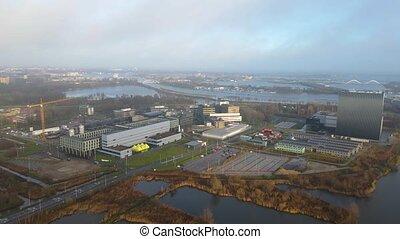 vue, bâtiments, amsterdam, hollande, datacenter, campus, science, parc, université, aérien