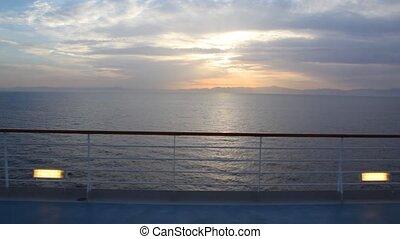 vue, bateau, mer, coucher soleil, pont