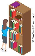 vue, brunette, étagères, bibliothécaire, femme, livres, bibliothèque, beau, dos, chooses, bibliothèque