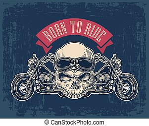 vue, côté, glasses., crâne, motocyclette