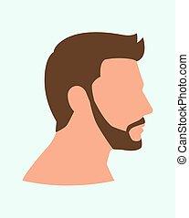 vue, côté, moustache, figure, homme, barbe