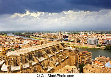 vue, catalogne, castle., tortosa