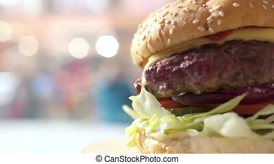 vue., cheeseburger, côté