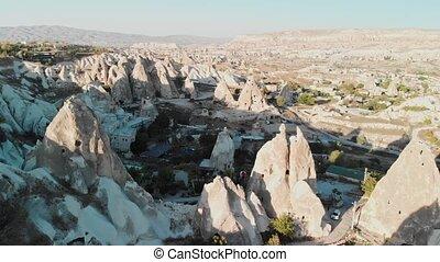 vue, cheminées, nevsehir, turquie, vallées, fée, cappadocia, aérien