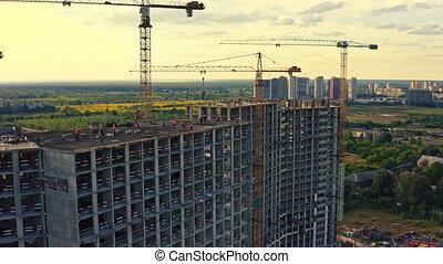 vue, constructeurs, ouvriers, site, maison, développement, construction