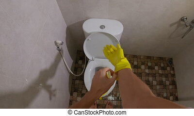 vue, coup, toilette, lave, gants, -, bol, jaune, homme, point, sanitaire