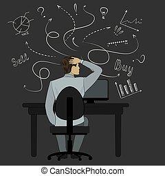 vue, croquis, dos, dessin animé, séance, homme, regarder, chaise, business