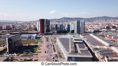 vue, d, district, europa, placa, gratte-ciel, via, business, aérien, panoramique, gran, moderne