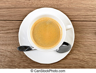 vue dessus, tasse à café