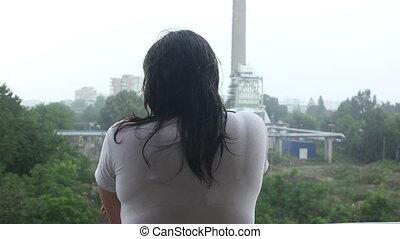 vue, dos, pluie, femmes