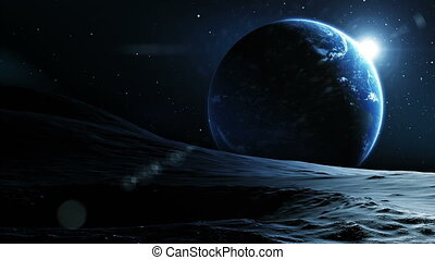 vue, earth., beau, lune