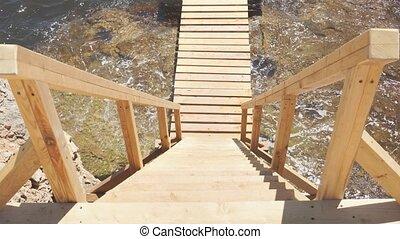 vue, escalier, sommet bois, descente, mer