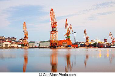 vue, industriel, port, crépuscule