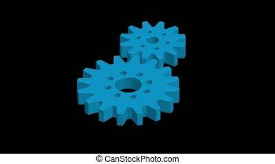 vue, isométrique, noir, engrenages, fond, bleu, rotation