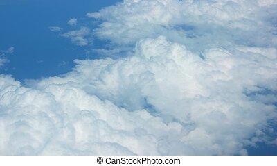 vue, nuages, aéroporté, au-dessus, gonflé