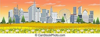 vue, parc, extérieur, paysage urbain
