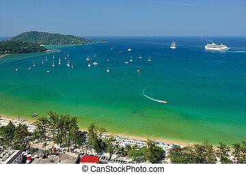 vue, plage, thailand., phuket., aérien, patong, exotique