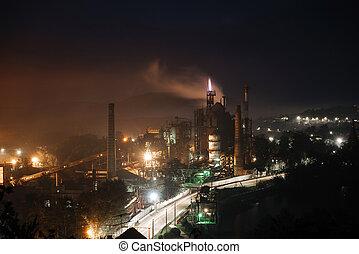 vue, plant., industriel, nuit, géant