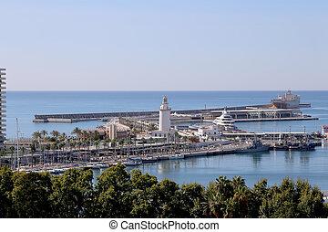 vue, port, andalousie, aérien, spain., ville, malaga