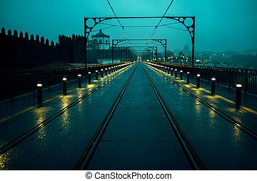 vue, portugal., pont, ferroviaire, fer, porto, nuit, luis, dom, pistes