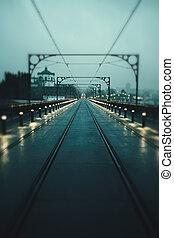vue, portugal., pont, motion., fer, porto, image brouillée, nuit, luis, dom