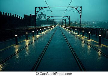 vue, portugal., pont, nuageux, fer, porto, temps, nuit, luis, dom