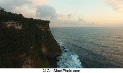 vue., rocheux, île, aérien, bali., littoral