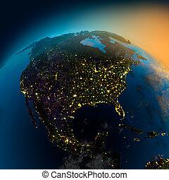 vue, satellite, amérique, nord, nuit