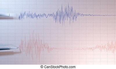 vue, sismographe, côté, deux, arrows.