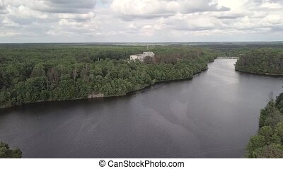 vue, ukraine, rivière, teterev, réservoir, aérien