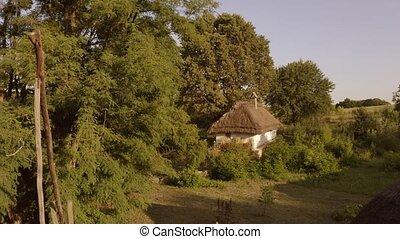 vue, ukrainien, house., aérien, traditionnel, hutte