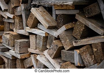 vue., une, work., empilé, côté, one., bois, construction, conseils