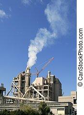 vue, usine ciment, ensoleillé, bleu, jour