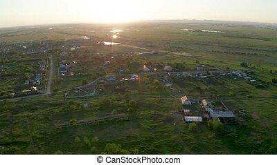 vue, village, aérien